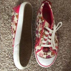 Coach shoes pink and white with cute flowers